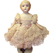 """5"""" Bisque German Child with Blonde Sculpted Hair for Doll House"""