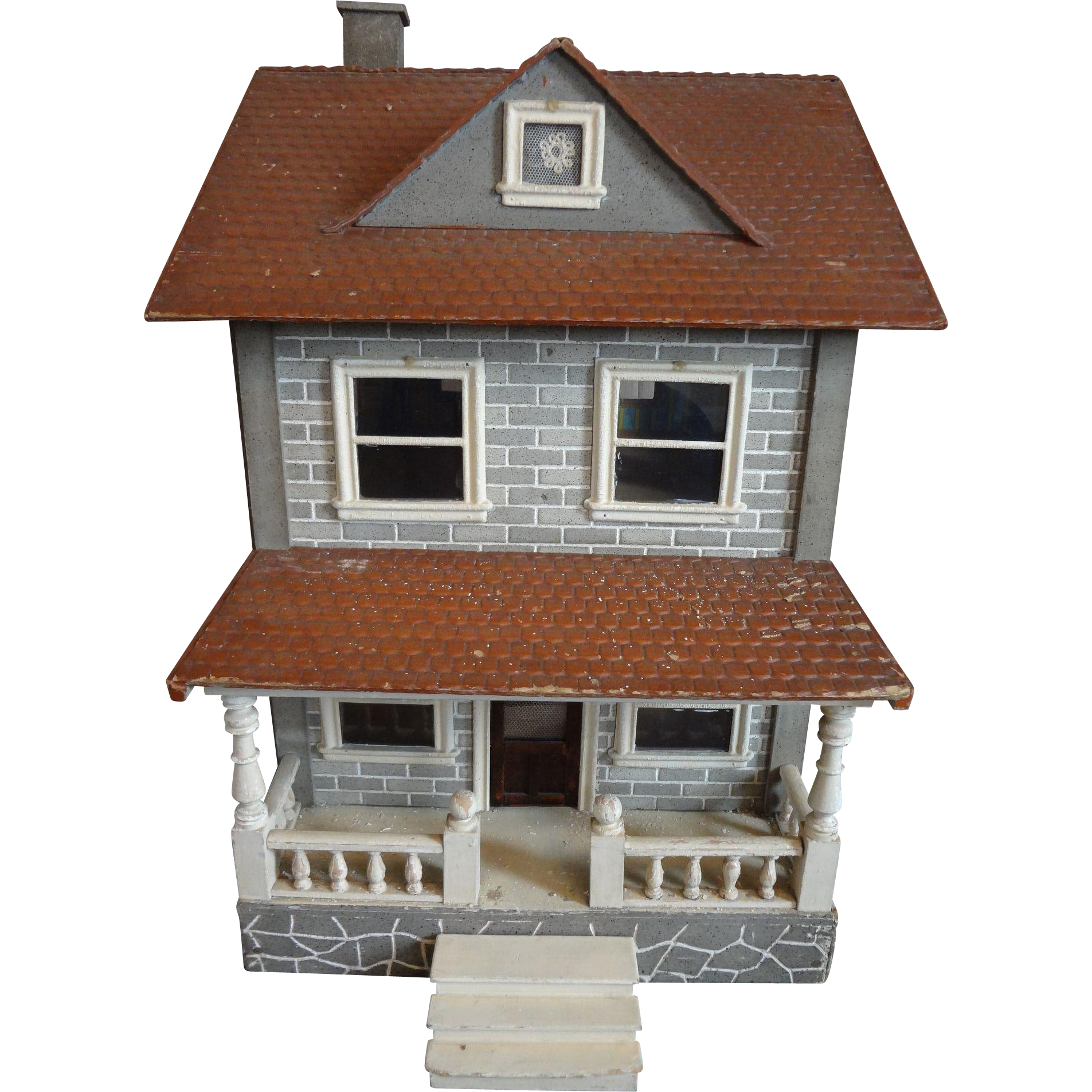 Schoenhut Two Story Dollhouse With Porch From