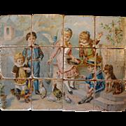 SALE Antique Lithograph Wood Block Puzzle Set