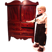 Outstanding Miniature Mahogany Linen Press for French Fashion