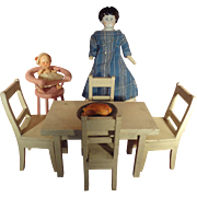 Doll House Kitchen with Table, Chairs and Icebox
