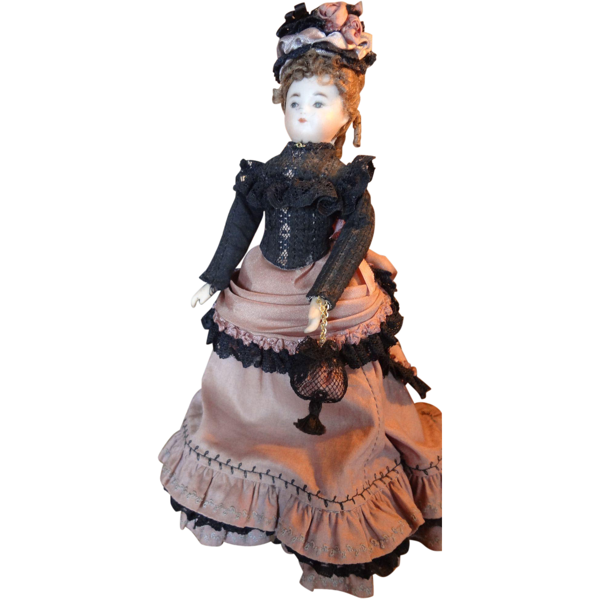 6 1 2 Doll House Lady In Victorian Costume Sold On Ruby Lane