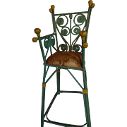 Doll's Green Painted Wicker High Chair for Baby Doll