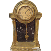 German Gilt Metal Doll House Mantel Clock