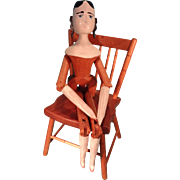 Peg Wooden Doll with Curls