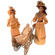 """Pair of Artist Corn Husk Dolls by May Deschamps 9"""" and 10"""" tall"""
