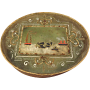 Oval Box with Glass Lid and Raised Harbor Scene