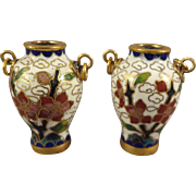 Pair Cloissone Vases for Doll House or Miniature Display