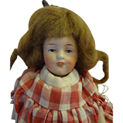 """Cute 5 1/2"""" All-Bisque Girl with Curly Locks and Red Gingham Dress"""