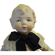 """All Bisque Boy with Wonderful Blonde Molded Hair and Costume 7 1/2"""" Tall"""