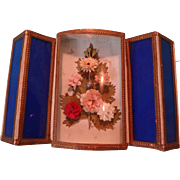 SALE Decorative Glass Covered Box Candy Container with Flowers and Mirror