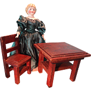 Doll's Table and Chair in Folk Art Style
