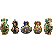 Five Miniature Doll House Cloisonne Vases