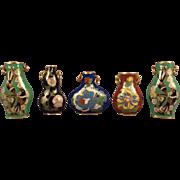 Five Miniature Doll House Cloisonne Vases