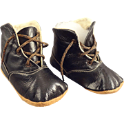 """Black Leather Doll Shoes Marked """"O"""""""