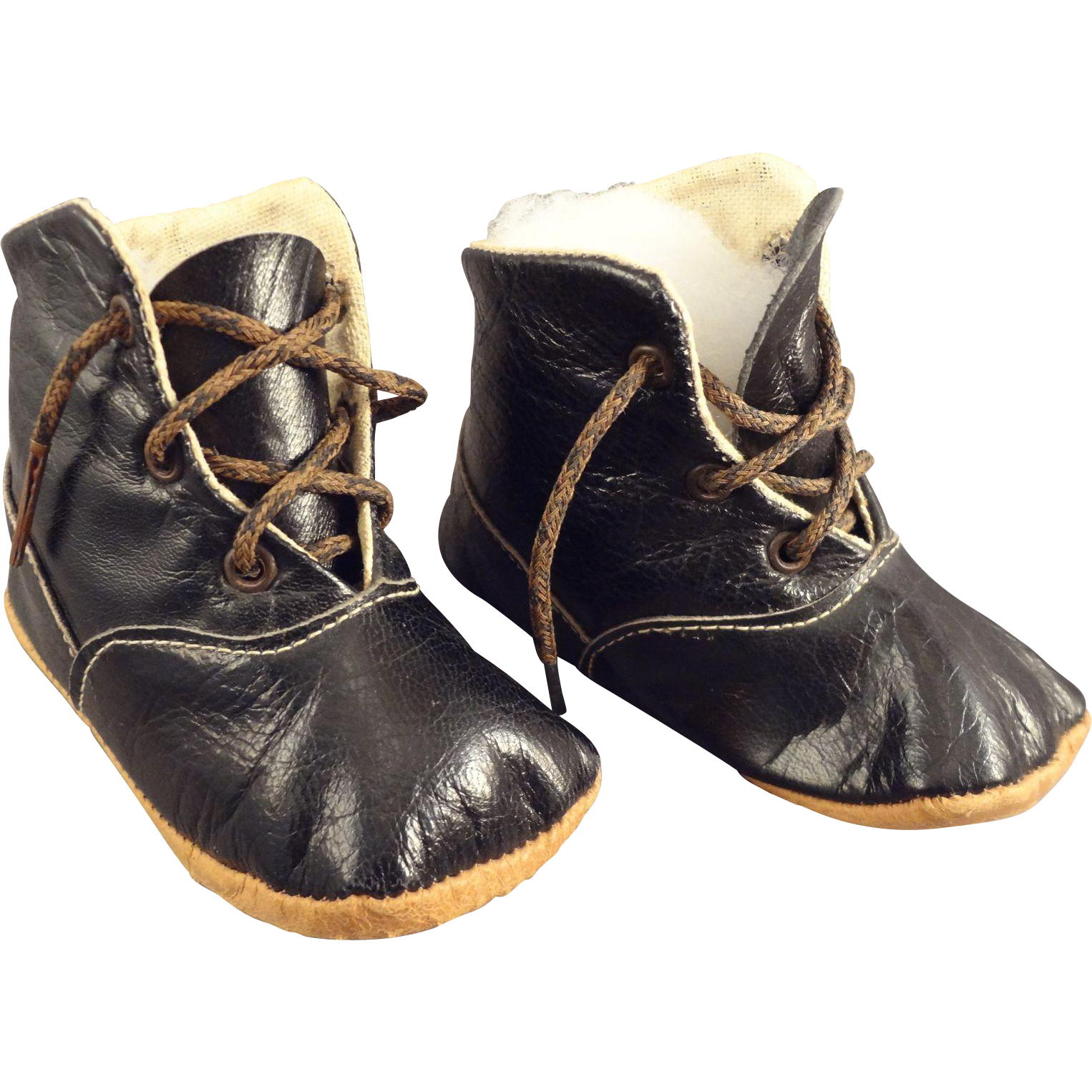 Black sleek doll boots - S S Sleek black boots with zippered sides. Color options are for faux-fur collar only! Size 1(MT) comes in white ONLY.