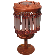 Gorgeous Ormolu and Gilt metal Table Lamp with Crystal Beads in Miniature for Doll House