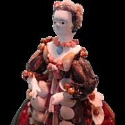 Fabulous Miniature Papier Mache Shell Doll Under Glass