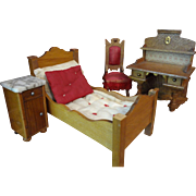 Doll House Bedroom Bed, Slipper Chair and Marble Top Night Stand