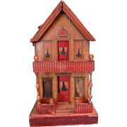 Reed Lithographed Two Room Gutter Doll House with Porches in Petite Size
