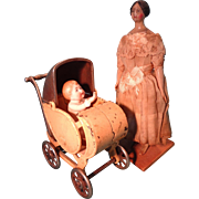 SALE Rare Cast Iron Doll Carriage Stroller Perambulator