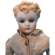 Gorgeous Blonde Hair Bisque Doll with Deeply Molded Hair and Glass Eyes