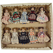 Original German Box of 10 All Bisque Dolls 3""