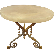 Gilt Soft Metal Marble Top Table for Doll House