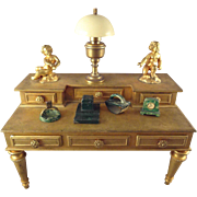 Doll House Faux Marble Desk Accessories, Inkwell Blotter, Clock, Ashtray