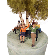Trinket Box Artist Made Brass with Park Scene on Top