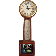 Doll House Banjo Clock with Painted Eglomise Scene