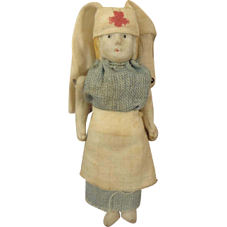All Bisque Mini Nurse for Small Scale Doll House