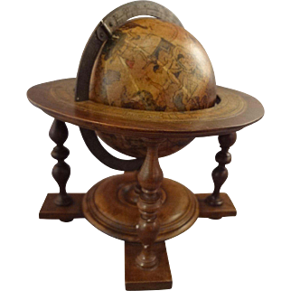 Antique Miniature Globe on Stand with Astrological Signs
