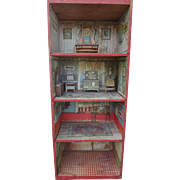 Rare Dunhams Cocoanut Doll House with Paper Furniture