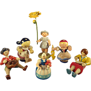 Group Six German Wood Figures in Adorable Poses
