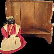 Folk Art Miniature High Back Curved Bench for Dolls