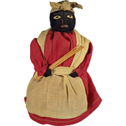 Mammy Cloth Sock Doll with Embroidered Face