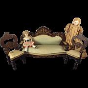 Biedermeir Boule Sofa and Two Balloon Back Chairs