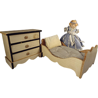 Wonderful Blonde and Ebony Doll House Bed, Dresser and Doll