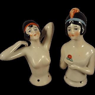 Pair of German Porcelain Flapper Half Dolls with Hands Away