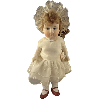 """Chubby 6"""" All Bisque Girl with Head Piece"""