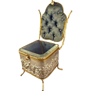 SALE Fabulous Vitrine in Form of Chair with Silk Tufted Back and Interior