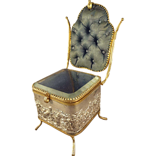 Fabulous Vitrine in Form of Chair with Silk Tufted Back and Interior