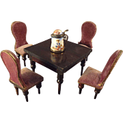 German Doll House Table and Chairs in Half Scale by Kestner