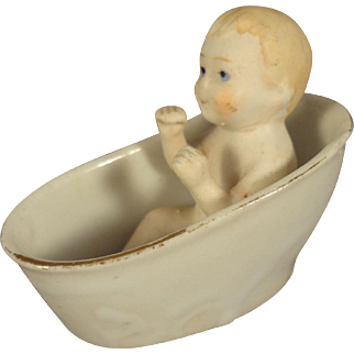 All Bisque Seated Baby in Porcelain Tub