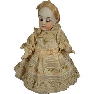 """Adorable 4 1/2"""" All Bisque Doll with Swivel Head and Glass Eyes"""