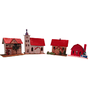Christmas Village of Card Stock Church Houses and Barn