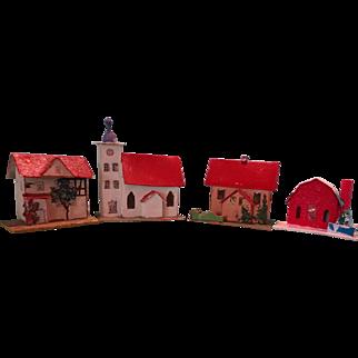 Christmas Village of Card Stock Church Houses and Barn