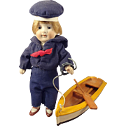 All Bisque Sailor Doll with His Rowboat