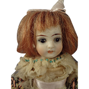 "5 1/2"" All Bisque Doll with Glass Eyes and Open/Close Mouth"